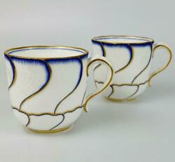 2 Antique Minton Gold Gilt Demitasse Coffee Cups 19thc1881a1840 Spiral Fluted