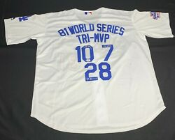 Tri Mvp Ron Cey Pedro Guerrero Steve Yeager Signed Dodgers Jersey 9a55474