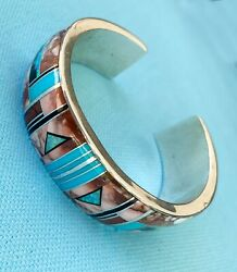 Mary Morgan Wild Horse And Sterling Inlay Bracelet Navajo, Wide, Pre-owned