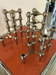 12 Bmf Mid-century Modern Stoff Nagel Triple Chrome Candle Holders