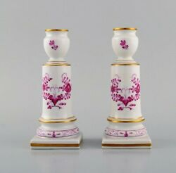 A Pair Of Antique Meissen Pink Indian Candlesticks In Hand-painted Porcelain