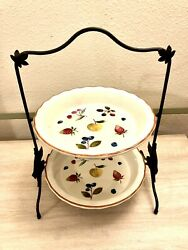 """Longaberger 2 Tier Wrought Iron Leaf Pie Stand Rack 10"""" Berry Pottery Pie Plates"""