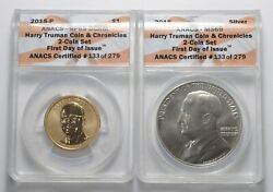 Lot 2 Truman Coin And Chronicles 2-coin Set - Graded Anacs 5218