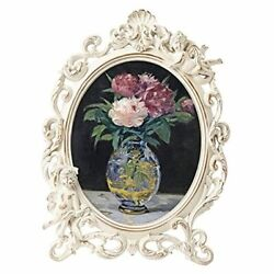 Vintage Picture Frames With Embossed Angel,oval Antique Photo Frame 8x10 White