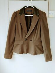 Dorothy Perkins Size 12 Tweed Jacket Blazer Leather Collar And Elbow Patches