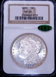 1896 P Morgan Silver Dollar Ngc Ms64 Cac White Frosty Luster Pq Ge742