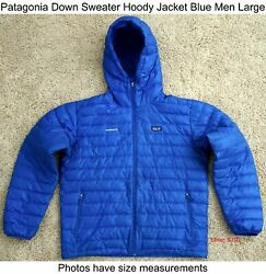 Down Sweater Hoody Packable Jacket Blue Men Large - Has Company Logo