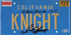 William Daniels D Hasselhoff Autograph Knight Rider Signed License Plate Bas 5