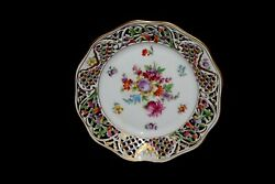 Vtg Floral Schumann Bavaria Germany Chateau Reticulated Lacey Plate 9½ Gilded