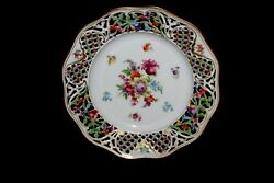 Vtg Floral Schumann Bavaria Germany Chateau Reticulated Lacey Plate 11 Gilded