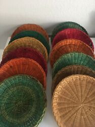 Vintage Wicker Rattan Color Picnic Paper Plate Holders Boho Wall Decor Set Of 12