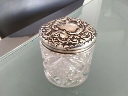 Antique Edwardian Hallmarked Sterling Silver Glass Dressing Table Pot Bham 1907
