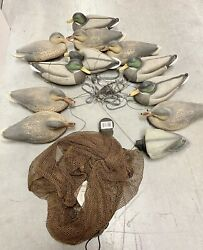 Lot Of 12 Greenhead Gear Vintage Duck Decoys Mallard/drake With Weights And Bag