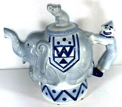 Vintage Roy Simpson J. Luber Circus Elephant Teapot With Clown Handle/bombay Co.