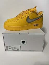 New | Authentic | Nike X Off-white Air Force 1 University Gold Sz 9 | Dd1876-700