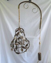 Lamp Antique Tole Hanging Light Sconce Swing Arm Counter Weight Lemon Leaves