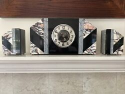 French Art Deco C1905s Marble Mantle Clock W/bookends. Free Shipping