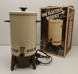 Mirro The Electric Works 22cup Coffee Party Percolator M-9294-43 Almond Vtg 70s