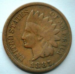 1887 Indian Head Cent Weak Liberty F Details Brown Better Date Penny Lot 910