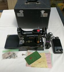 1950 Singer 221 Featherweight Sewing Machine, 100th Anniversary, Case+key+manual