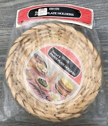 Vintage Nevco Bamboo Wicker Rattan Paper Plate Holders Lot Of 4 Picnic Camping