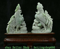 12 China Natural Emerald Green Jade Jadeite Zodiac Year Rooster Cock Statue Ds
