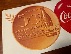 Coca Cola 1952 Ink Blotter 50th Anniversary Bottling Co. Near Mint Nos Paper
