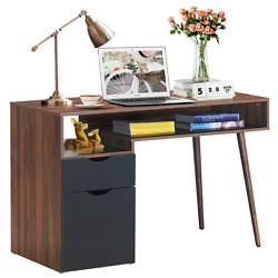 Computer Sturdy Desk Pc Writing Gaming Table Cabinet Large Drawer Storage Shelf