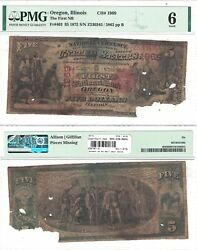 1875 5 First National Bank Of Oregon, Il 1969 Pmg Good-6