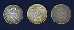 Germany Empire 1905-a-d-e 1 Mark Silver Coins Lot Of 3 Vf/xf To Au