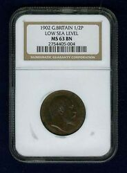 Great Britain Edward Vii 1902 Half Penny, Uncirculated, Certified Ngc Ms63-bn