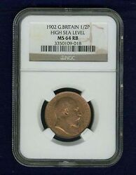 Great Britain Edward Vii 1902 Half Penny, Uncirculated, Certified Ngc Ms64-rb