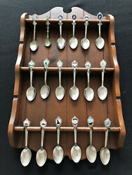 Lot Of 18 Antique Silverplated State Decorative Spoons With Wooden Spoon Holder