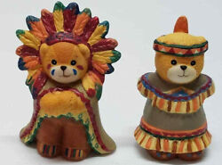 Enesco Lucy And Me Bear Lucy Riggs Bear Thanksgiving Indians Boy And Girl 1990