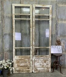 8 Pane French Glass Doors, Antique French Double Doors, Old Wood Doors, M12