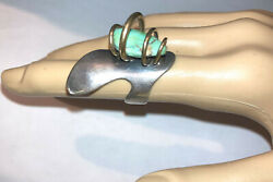 Rare Modernist Art Smith Sterling Silver And 14k Gold Turquoise Ring Size 6