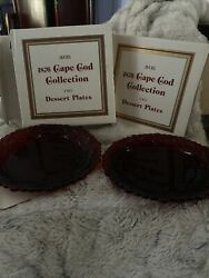 Avon 1876 Cape Cod Ruby Red Glass Collection-set Of Four Salad/dessert Plates 7