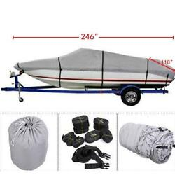 600d 17-19ft Waterproof Scratch-proof And Sun Gray Boat Cover Gray Fit V-hull