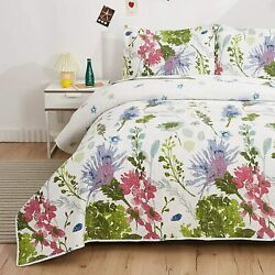 Green Blue Pink Floral 3 Pc Quilt Set Coverlet Twin Full Queen King Size Bedding