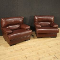 Pair Of Armchairs In Leather Furniture Vintage Living Room Modern Design 900