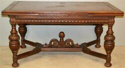 19761 Oak Carved Library Computer Work Table Antique