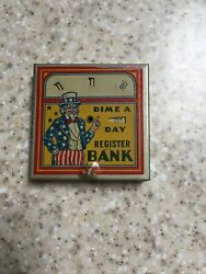 Circa 1930s Bank Uncle Sam Dime A Day Dime Register Bank