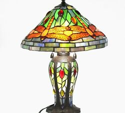 Multicolor Wired Portable Stained Glass Reading Accent Style Table Lamp