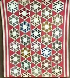 Small Stars Pa C 1880-90s Seven Sisters Quilt Antique Browns Cheddar Never Used