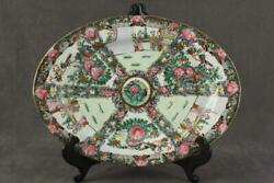 Antique Chinese Art Porcelain Rose Medallion Oval Tray Gold Trim Hand Painted