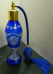 Vintage Bohemian Hobstar Cobalt Cut To Clear Glass Perfume Bottle Atomizer Excel