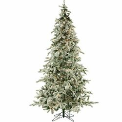 Fraser Hill Flocked Mountain Pine Christmas Tree With Clear Led String Lighting