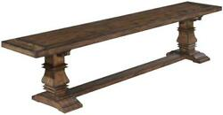 Bench Tuscan Harvest Plank Seat Carved Legs Distressed Solid Wood Rustic Pecan