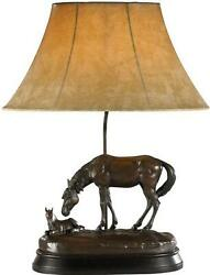 Table Lamp Horse Just Resting Cast Resin Faux Leather Shade Fabric Lining T