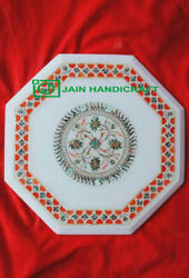 12and039and039 White Marble Table Top Center Coffee Antique Inlay Pietra Dura Mosaic P38